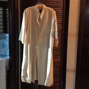 Eileen Fisher Ivory Silk long coat